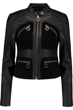 Shop Michael Michael Kors Suede-paneled Leather Jacket from stores. Fashion Wear, Fashion Outfits, Fashion Trends, London Fashion, Fall Jackets, Jackets For Women, Outerwear Jackets, Chic Outfits, Fall Outfits
