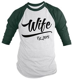 Personalized Wife Est. Shirt - This t-shirt is great for your wedding day! It will be personalized with the year 2015. These novelty shirts make great wedding and anniversary gifts. Perfect for your a