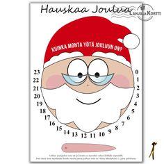 Tämä joulukortti on askartelukortti, jolla alkaa lähtölaskenta jouluun. Kortista saa kellon, jonka avulla joulun lähestymistä voi seurata lapsikin helposti.