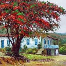 ImagemTrabalho_CidoOliveira (31) Flamboyant, Fantastic Art, Tree Art, Artist Painting, Country Life, Beautiful Landscapes, Painted Rocks, Landscape Paintings, Scenery