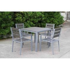 Create a cozy getaway in your own backyard with the selection of this highly sustainable Velago Vittore Aluminum Square Outdoor Dining Set. Woven Dining Chairs, Outdoor Dining Set, Patio Dining, 3 Piece Bistro Set, 3 Piece Dining Set, Garden Furniture Sets, Outdoor Furniture Sets, Dining Room Server, Plywood Table