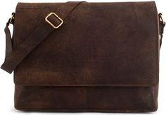 LEABAGS OXFORD Vintage Genuine Leather Satchel Flapover Shoulder Bag
