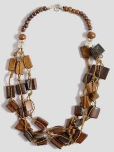 Indian necklace with square wood