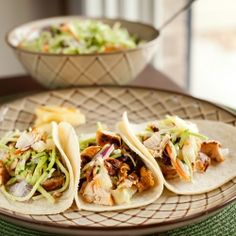 Chipotle Grilled Chicken Tacos with Pineapple Slaw.