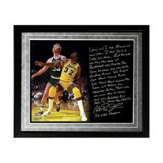 "Steiner Sports Los Angeles Lakers Magic Johnson My Friend Larry Bird Facsimile 16"" x 20"" Framed Metallic Story Photo, Multicolor"