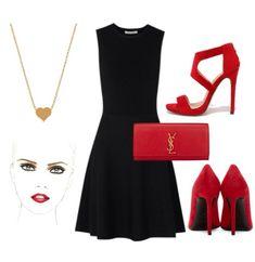 Vestidos de fiesta negro con zapatos rojos