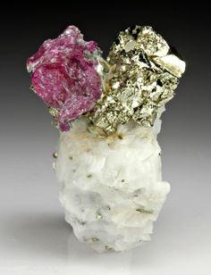 Corundum var. Ruby with Pyrite, Jegdalek Ruby Mine,  Kabol Province, Afghanistan