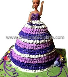 Pink, purple, & white doll cake