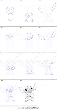 How to Draw Stitch from Lilo and Stitch printable step by step ...