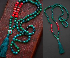 KATHMANDU MALA necklace with silk tassel and NEPALESE beads /