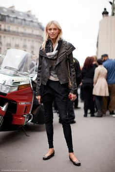 skinnies. ballet flats, leather jacket. big scarf