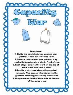 A set of 5 games reviewing measurement concepts.  Includes review of length, capacity and mass/weight customary and metric measurements.Games:...