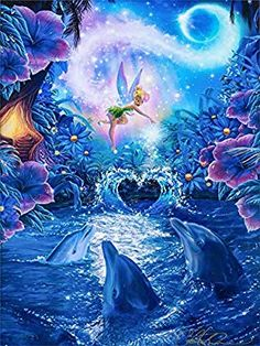 CaptainCrafts DIY Diamond Painting by Number Kits Full Drill Diamond Painting Angel Dolphins Arts Craft Home Wall Decor Tinkerbell And Friends, Tinkerbell Disney, Disney Fairies, Images Disney, Art Disney, Disney Pictures, Beautiful Fantasy Art, Beautiful Fairies, Disney E Dreamworks