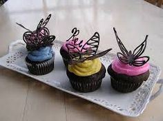 Cupcake with chocolate decorations