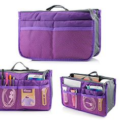 New Trending Make Up Bags: GEARONIC TM Lady Women Travel Insert Organizer Compartment Bag Handbag Purse Large Liner Tidy Bag - Purple. GEARONIC TM Lady Women Travel Insert Organizer Compartment Bag Handbag Purse Large Liner Tidy Bag – Purple   Special Offer: $6.29      299 Reviews Taking your stuff with you on-the-go has never been easier. This organizer bag has 13 small to large compartments/pouches you can store...