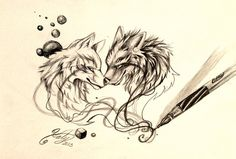 Wolves and bubbles art design tattoo