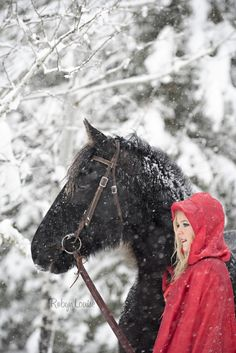 robyn Louise photography, williams lake horse photographer, quesnel horse photographer, cariboo photographer, little red riding hood with horses, little red riding hood, equine photographer, cariboo photography, snow photography