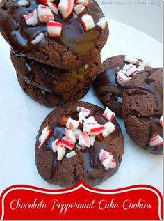 Join the virtual Bake Sale and get the recipe for these Chocolate Peppermint Cake Cookies. So easy to make for a crowd and perfect for Christmas! Miss Information Blog / #cookies #bakesale #Christmas #cookieswap