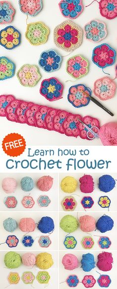 Amazing Free Crochet Patterns For Crochet Lovers - Diy And Crafts Crochet Flower Patterns, Crochet Motif, Crochet Yarn, Crochet Flowers, Crochet Stitches, Knitting Patterns, Crochet Gratis, Free Crochet, Crochet Needles