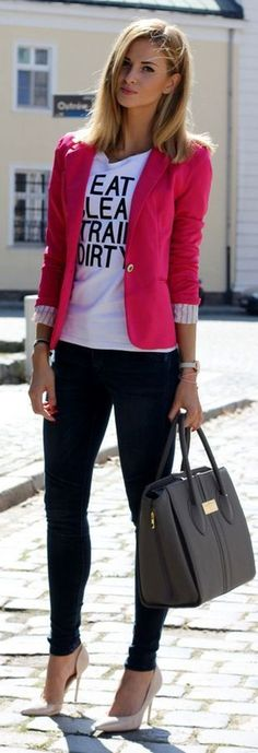 Dressing at the Office has never been that easy. Instead of classic jackets and trousers we've got a thousand of cute blazers, skinny pants, chic shirts and blouses to create modern business casual look with heels or even converse. Learn how to not looking boring dressing at the office with following simple outfit ideas.