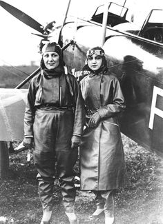 c. 1930  Maryse Bastiè (1898-1952) and Gilda de Bankford. Bastié's fascination with flight began when she married a WWI pilot. Her husband died in a plane crash in 1926. She supported herself through aerial acrobatics, later buying her own plane. She rose to the rank of Captain in the French Air Force, and was herself killed in an air crash.