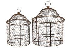 Asst of 2 Birdcage Baskets, Brown