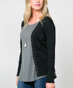 Look at this #zulilyfind! Black Snap-Button Cardigan - Women #zulilyfinds