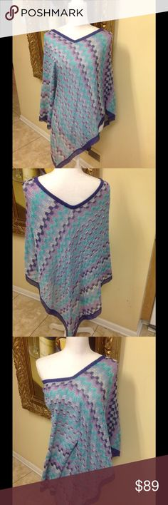 Missoni Poncho Made In Italy Stunning original Missoni Italy purple and blue print poncho. Great with jeans, lightweight fabric that can be worn all year round, beautiful condition, low price. Missoni Accessories Scarves & Wraps