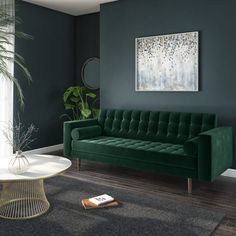 Buy Elba 3 Seater Sofa in Dark Green Velvet with Button Detailing & Bolster Cushions from - the UK's leading online furniture and bed store Living Room Green, Bedroom Green, Green Rooms, Living Room Sofa, Velvet Green Couch, Velvet Sofa Bed, Velvet Bedroom, Emerald Green Sofa, Emerald Green Bedrooms
