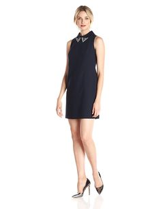 Eliza J Women's Shift Dress with Beaded Collar >>> Tried it! Love it! Click the image. : Women clothing
