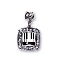 Golf Lovers Golfing Charm Classic Silver Plated Square Crystal Bracelet