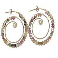 Seychelles 095 ~Tourmaline Spiral Hoop Earrings, Metal Choice