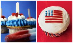 Fourth of July Desserts - cute and easy flag cupcake