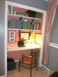 Plan a tidy, inviting guest room and a helpful workspace by morphing the closet into an office. A few shelves and a chair turn an underused storage spot (guests will fair fine with some hooks and a dresser) into entirely new room you can tuck behind a curtain when you're not using it. See more at The Book of Jimmy »