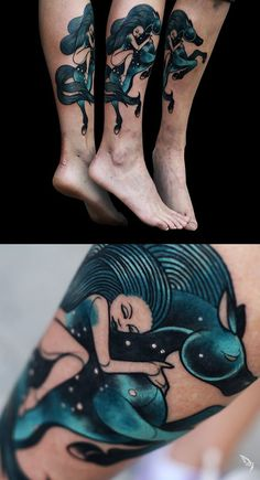 Girl riding space horse  Freehand tattoo by Lucie