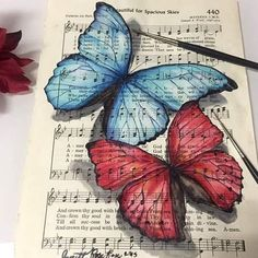 Beautiful America By _ Also check out our new art featuring page Sheet Music Crafts, Sheet Music Art, Book Page Art, Book Art, Newspaper Art, Dictionary Art, Butterfly Art, Butterfly Painting, Book Crafts