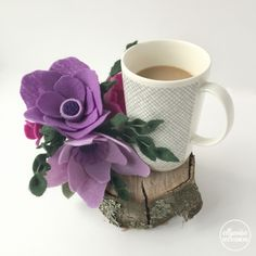 Morning coffee with some felt flowers Ellywise Studios memphis purple