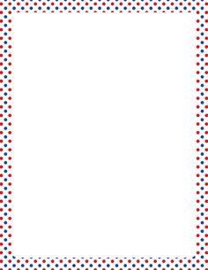 Printable patriotic border with red, white, and blue polka dots. Free GIF, JPG, PDF, and PNG downloads at http://pageborders.org/download/red-white-and-blue-polka-dot-border/. EPS and AI versions are also available.