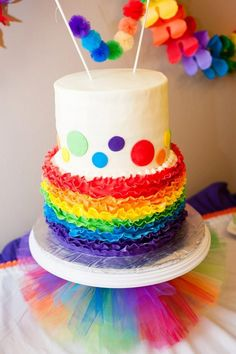 2nd bday rainbow cake by SugarLips Cakes