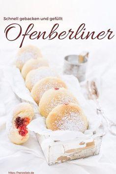 Ofenberliner Rezept - Berliner, Krapfen, Kreppel, Berliner oder Pfannkuchen gefüllt aus dem Backofen von herzelieb. #karneval #fasching #berliner #backen