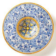 Vietri Flora Blu Large Round Wall Plate