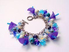 Charm Bracelet Cluster Purple Blue Turquoise £23.00