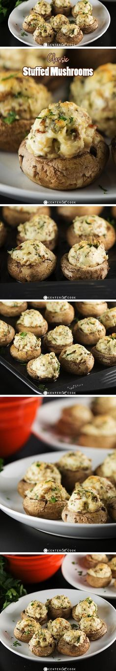 Classic STUFFED MUSHROOMS with a creamy cheesy filling including garlic and parmesan cheese get baked until the tops are lightly golden and delicious!