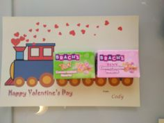 valentines day for kid school. My son is train fan. Made this for his preschool class. copy a train clip art from web, paste it in a word doc. added hearts and text.  Glued candy boxes. Done.
