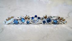 Slim antique silver blue crystal alligator by LindasAccessories