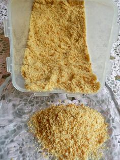 "'BREAD"" CRUMBS - Just almond flour and water baked! Works like real bread crumbs when it comes to breading veggies or meats, for topping casseroles, for binding meat loaves or hamburgers, or for using as a bread crumb topping with melted butter for casseroles. It makes a wonderful Graham cracker-like crust as well for pies, squares and cheesecakes.  No more soggy crusts!  The crusts made with this product remain remarkably firm.  Visit us at: https://www.facebook.com/LowCarbingAmongFriends"