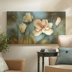 Enhance your home décor with the ever-blooming Softer Side Canvas Art Print! A delicate depiction of ivory flowers blended with hues of gold and blue. Canvas Art Prints, Painting & Drawing, Flower Art, Wall Art Decor, Modern Art, Art Drawings, Paintings, Blue Artwork, Magnolias