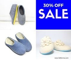 SALE 30% OFF - Custom Handmade Wool Slippers at FELT FORMA - https://www.feltforma.com/ Use a coupon code: FELTFORMA30