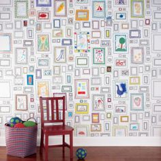 Frames Wallpaper from Graham & Brown: While we've featured this paper before, we think it would work great in a kid's room. Kids can draw in the frames, hang their artwork from school, or even put up favorite photos.
