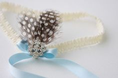 Garter ivory-light blue